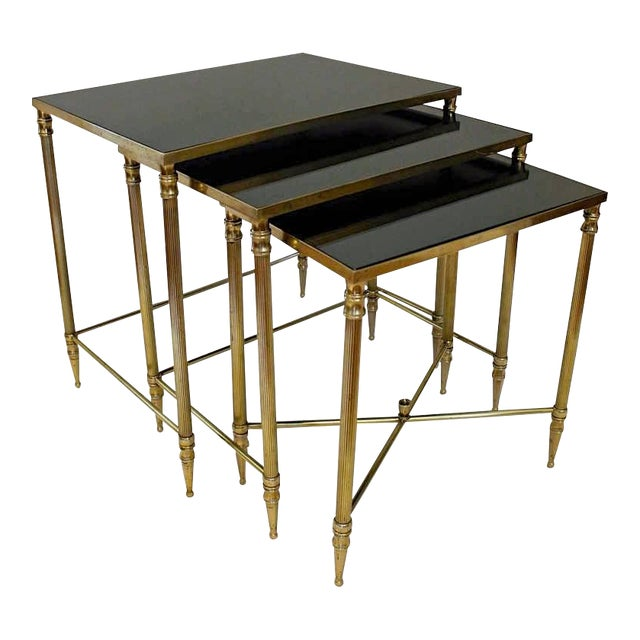 French Bagues Style Brass Nesting Tables - Set of 3 For Sale