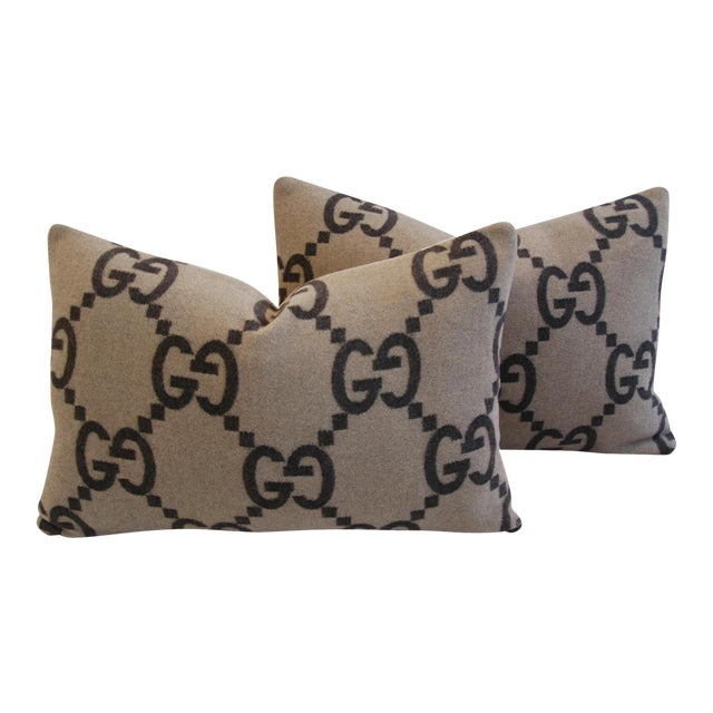 """23"""" X 16"""" Custom Tailored Gucci Cashmere & Velvet Feather/Down Pillows - Pair For Sale"""