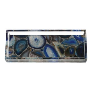 Dwm | Maloos Lucite Blue Agate Pattern Tray For Sale