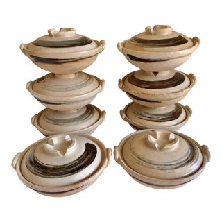 Earthy Rustic Pottery Bowls With Lids - Set of 8