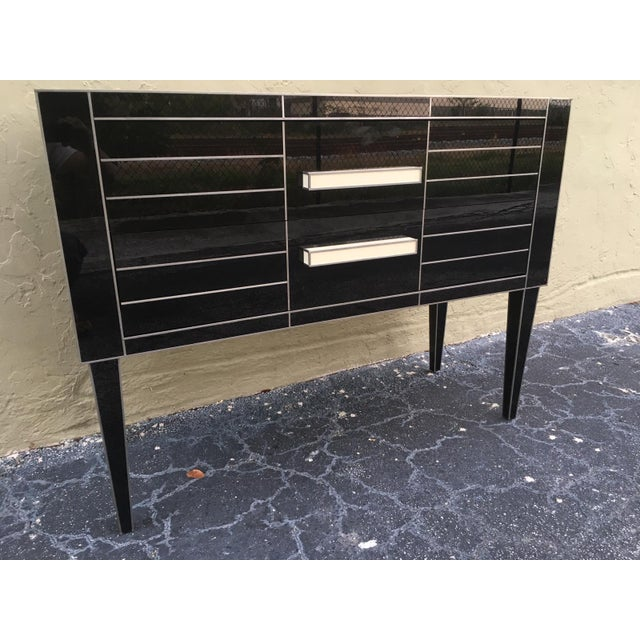 Aluminum New Chest of Drawers in Black Mirror and Aluminium With White Glass Handle For Sale - Image 7 of 11
