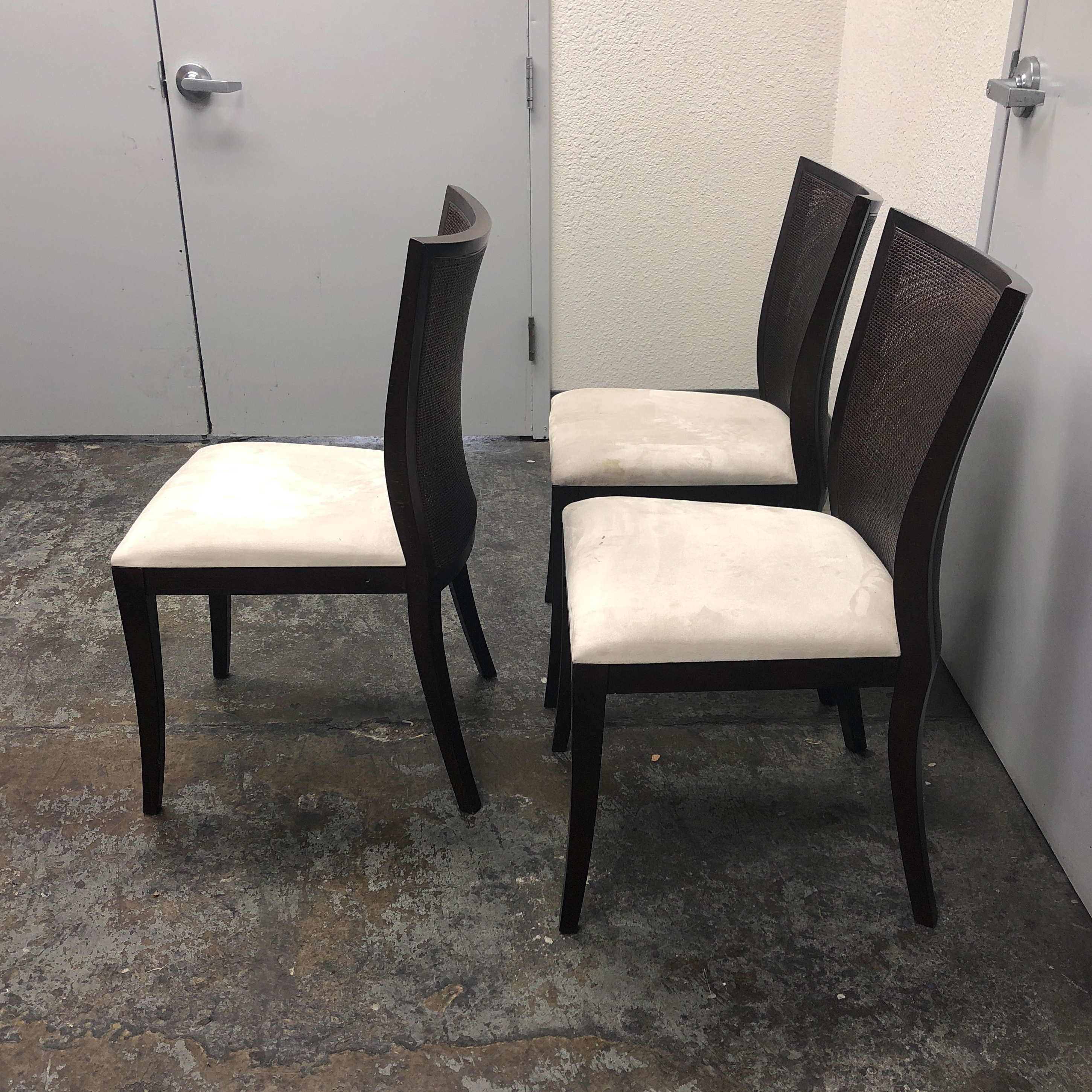 Contemporary Wood u0026 Double Caning Side Chairs - Set of 3 For Sale - Image 3 & Wood u0026 Double Caning Side Chairs - Set of 3   Chairish