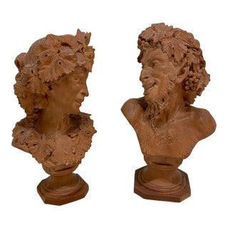 Faunas Terracotta 19th Century Venancio Vallmitjana Busts - A Pair For Sale