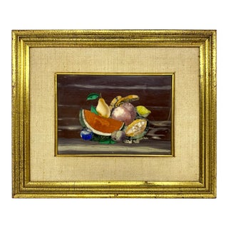 Vintage Pietra Dura Plaque With Fruit Signed Giuseppe Fiaschi For Sale