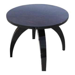 Unique French Art Deco Macassar Ebony Round Center Table / Game Table Circa 1940s