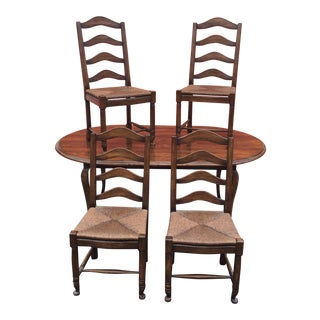 French Country Walnut Table & 4 Chairs For Sale