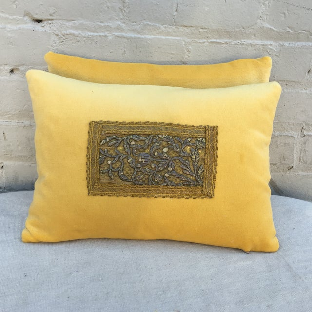 Metallic Embroidered Velvet Pillows - A Pair - Image 2 of 5
