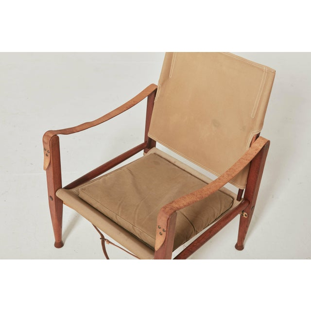 Mid 20th Century Kaare Klint Safari Chair in Canvas, Made by Rud Rasmussen, Denmark For Sale - Image 5 of 6