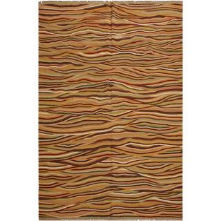 Elvera Red/Gold Hand-Woven Kilim Wool Rug -5'11 X 8'1 For Sale
