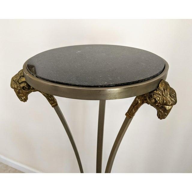 "Hollywood Regency 1970""s Jansen Style Ram's Head Pedestal Table For Sale - Image 3 of 7"