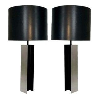 Mid-Century Sleek Aluminum I Beam Lamps by Laurel Lamp Company Original Shades - a Pair For Sale
