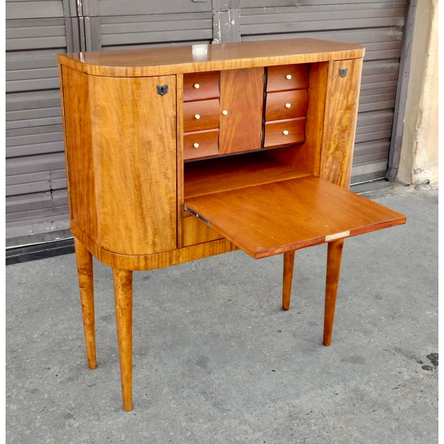 1940s Art Moderne Secretary Desk and Dry Bar in Honduran Mahogany For Sale - Image 4 of 13