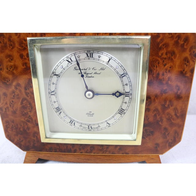English Deco Burl Walnut Clock For Sale - Image 6 of 7
