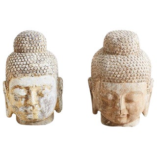 Pair of Carved Stone Burmese Buddha Heads For Sale