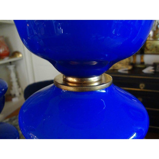 1960s Vintage Cobalt Blue Murano Glass Lamps by Balboa - a Pair For Sale In Houston - Image 6 of 10