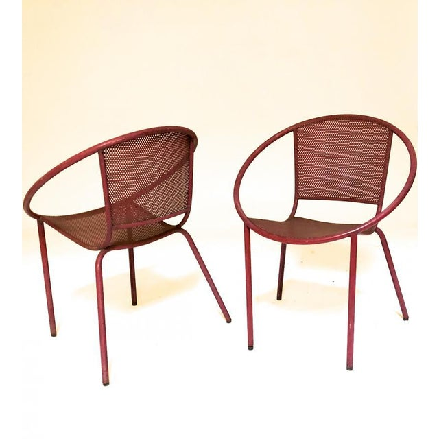 1950s Mathieu Mategot Style Charming Pair of Outdoor Chairs in Vintage Condition For Sale - Image 5 of 6