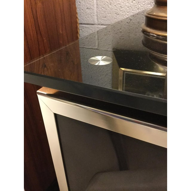 1970s 1970s Hollywood Regency Black Smoked Mirror and Midnight Blue Credenza For Sale - Image 5 of 8
