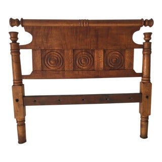 Antique Ornate Tiger Maple Headboard For Sale