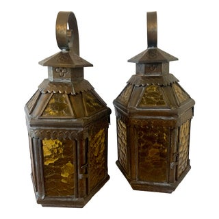 Vintage Spanish Wall Octagon Lanterns - a Pair For Sale