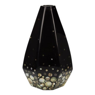 "1990s Contemporary Short Faceted Black ""Romania"" Vase With Seashell Inlay For Sale"