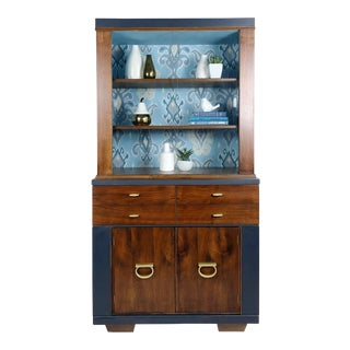 1960s Vintage Regency Style Hutch Bookcase & Bar Cabinet For Sale