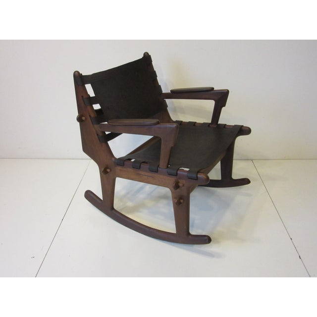 Angel Pazmino Mid Century Sculptural Rosewood Rocking Chair For Sale - Image 12 of 12