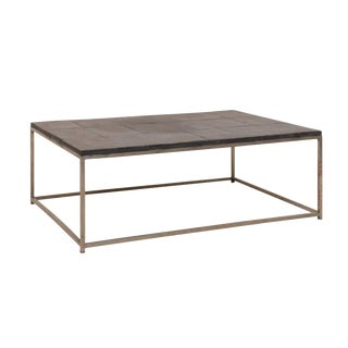 Modern Style Coffee Table With Slate Tiled Top and Stylish Custom Metal Base For Sale