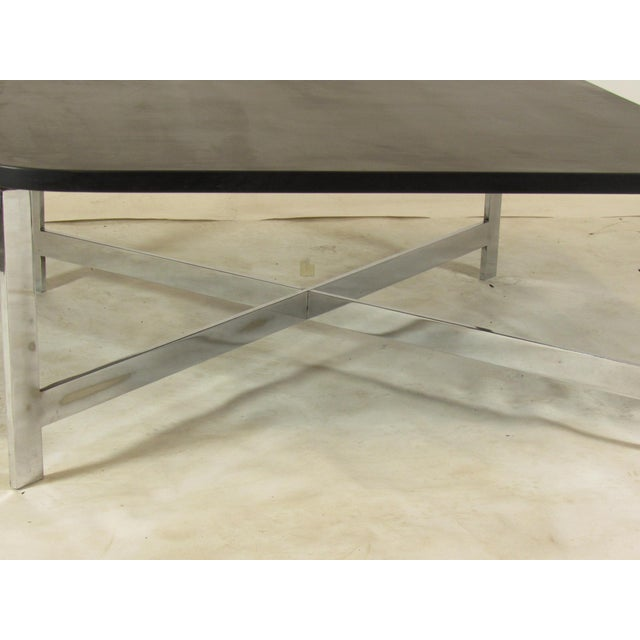 Metal French Mid-Century Slate & Chrome Coffee Table For Sale - Image 7 of 9