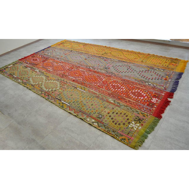 Material : Wool on wool and natural dyes Condition: Original rug is used, and is in very Good condition. It has been newly...