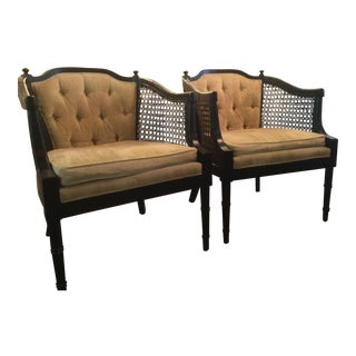 1960s Vintage Cane and Upholstered Chairs- a Pair For Sale