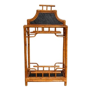Chinoiserie English Burnt Bamboo and Wicker Pagoda Motif Umbrella Stand For Sale