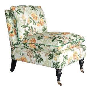 Chinoiserie Floral Fabric Slipper Chair