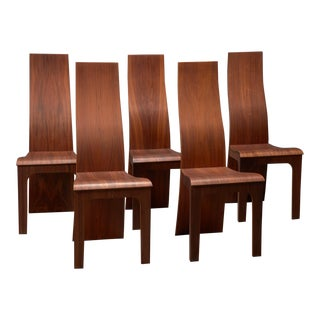High Back Rosewood Bent Plywood Chairs by Hans Karlsson - Set of Five For Sale
