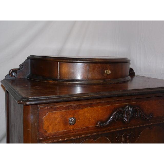 1920s antique art deco walnut dresser bureau chest of drawers demilune top image 4 of