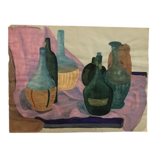 1950s Vintage Mid-Century Modern Still Life With Bottles Painting For Sale