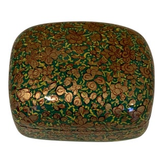 1960s Vintage French Handmade Decoupage Emerald and Gold Box For Sale