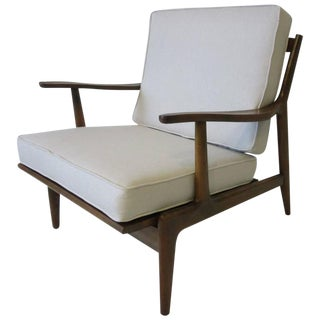 Italian Wood Framed Upholstered Lounge Chair For Sale