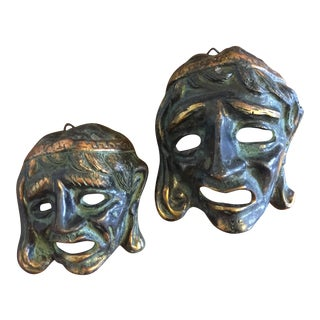Pair of Brass Greek Tragedy Masks Wall Hangings For Sale