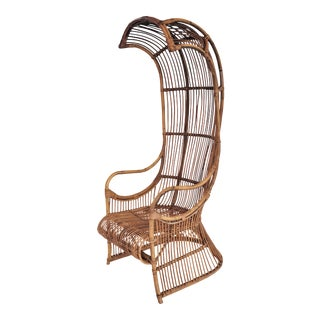 1950s Vintage Franco Albini Bent Rattan Cobra Porters Canopy Chair For Sale