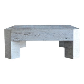 1980s Modern Travertine Coffee Table For Sale