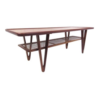 Mid-Century Kurt Ostervig Teak Coffee Table With Cane Shelf For Sale