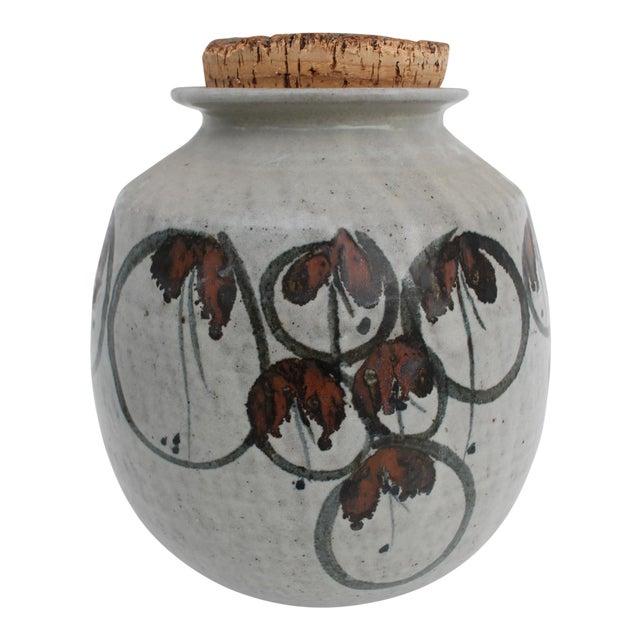 Vintage Studio Pottery Jar Vase & Cork Stopper For Sale
