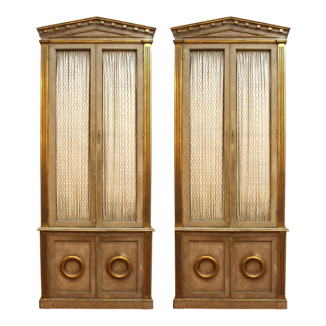 Monumental Neoclassical Revival Style Pedimented Wood Cabinets - a Pair For Sale