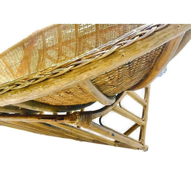 1970s 1970s Vintage Boho Rattan Settee For Sale - Image 5 of 13