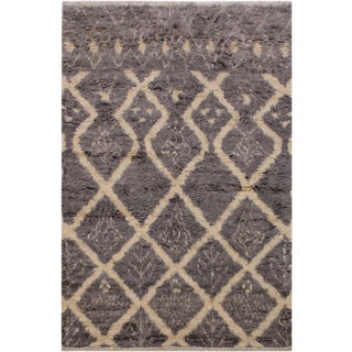 "Modern Bauhaus Moroccan Stacy Grey Wool Rug - 5'3"" X 8' For Sale"