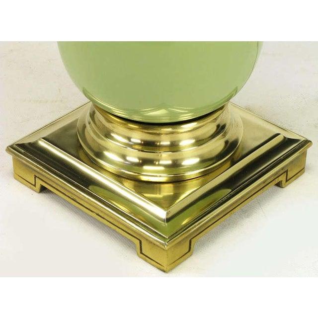 Pair Stiffel Brass & Sage Porcelain Ostrich Egg Table Lamps - Image 4 of 5