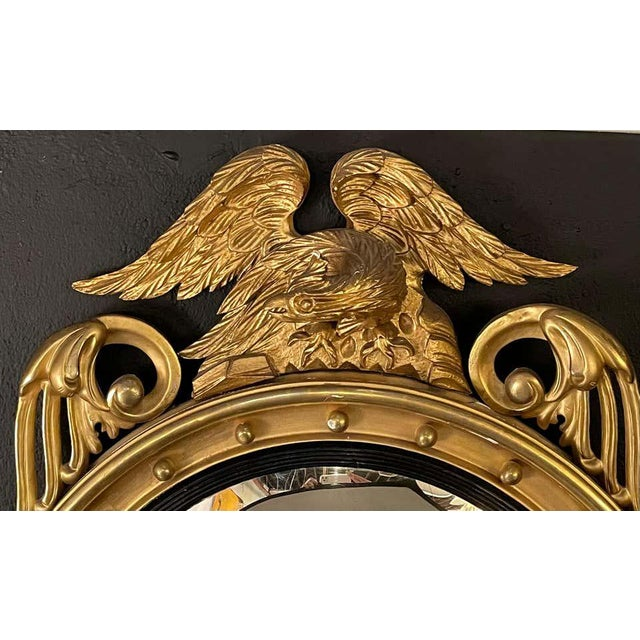 Gold Federal Style Gilt Gold Convex Mirror, Wall, Console or Pier Mirror For Sale - Image 8 of 10