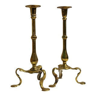 A Pair of Queen Anne Style Candlesticks For Sale