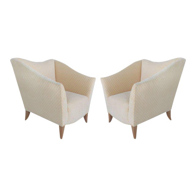 Sculptural Upholstered Club Chairs, Pair For Sale