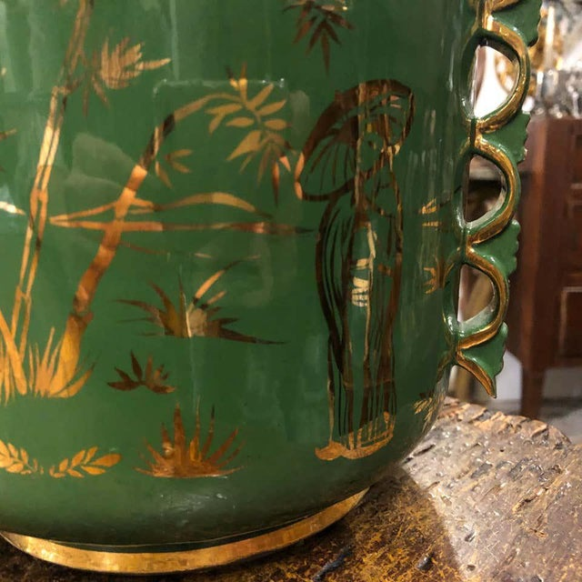 Metal 1960s Italian Mid-Century Modern Green and Gold Ceramic Vase For Sale - Image 7 of 13